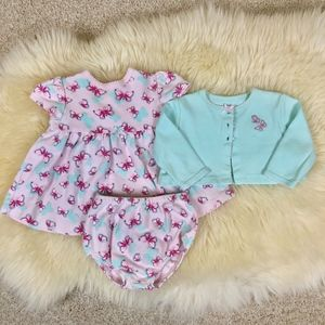 6m Little Me Dress And Cardigan Set